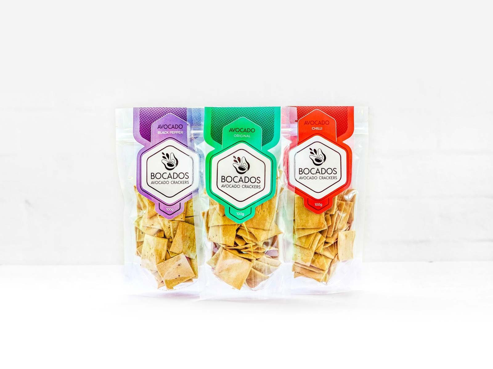 bocados vegan crackers packaging design