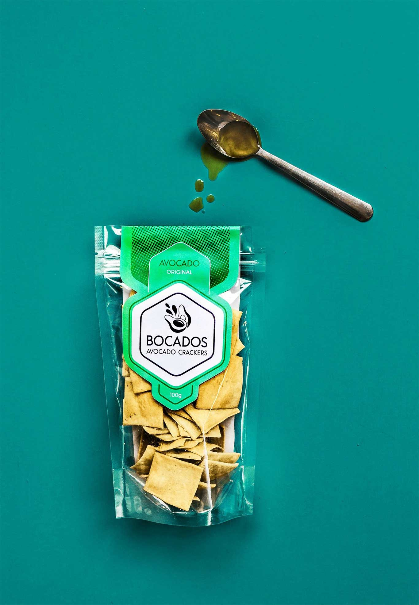 bocados vegan original crackers packaging design
