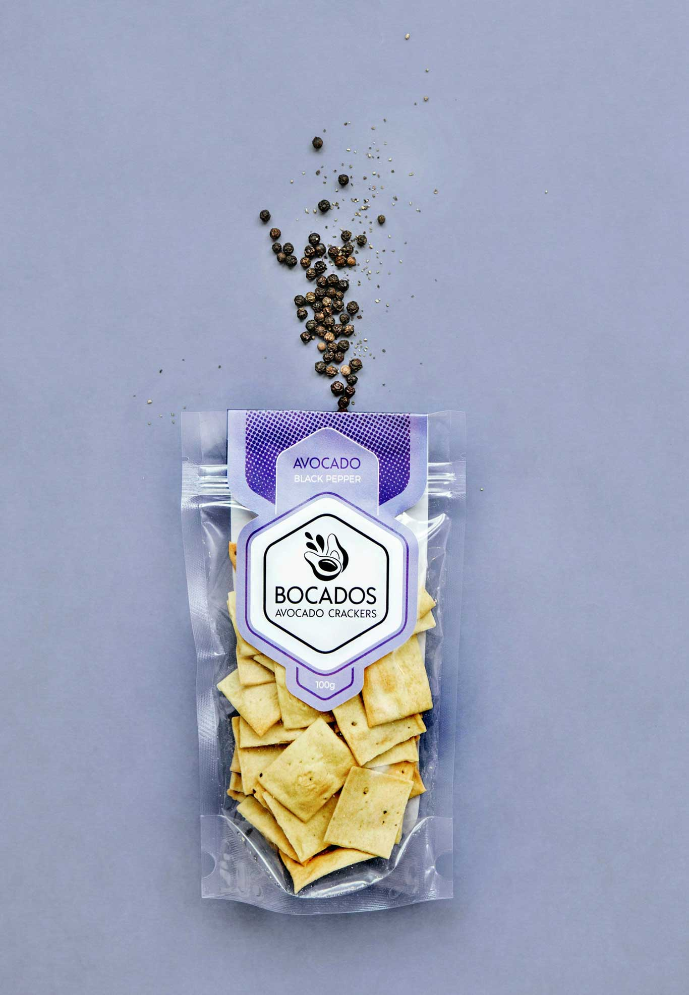 bocados vegan black pepper crackers packaging design