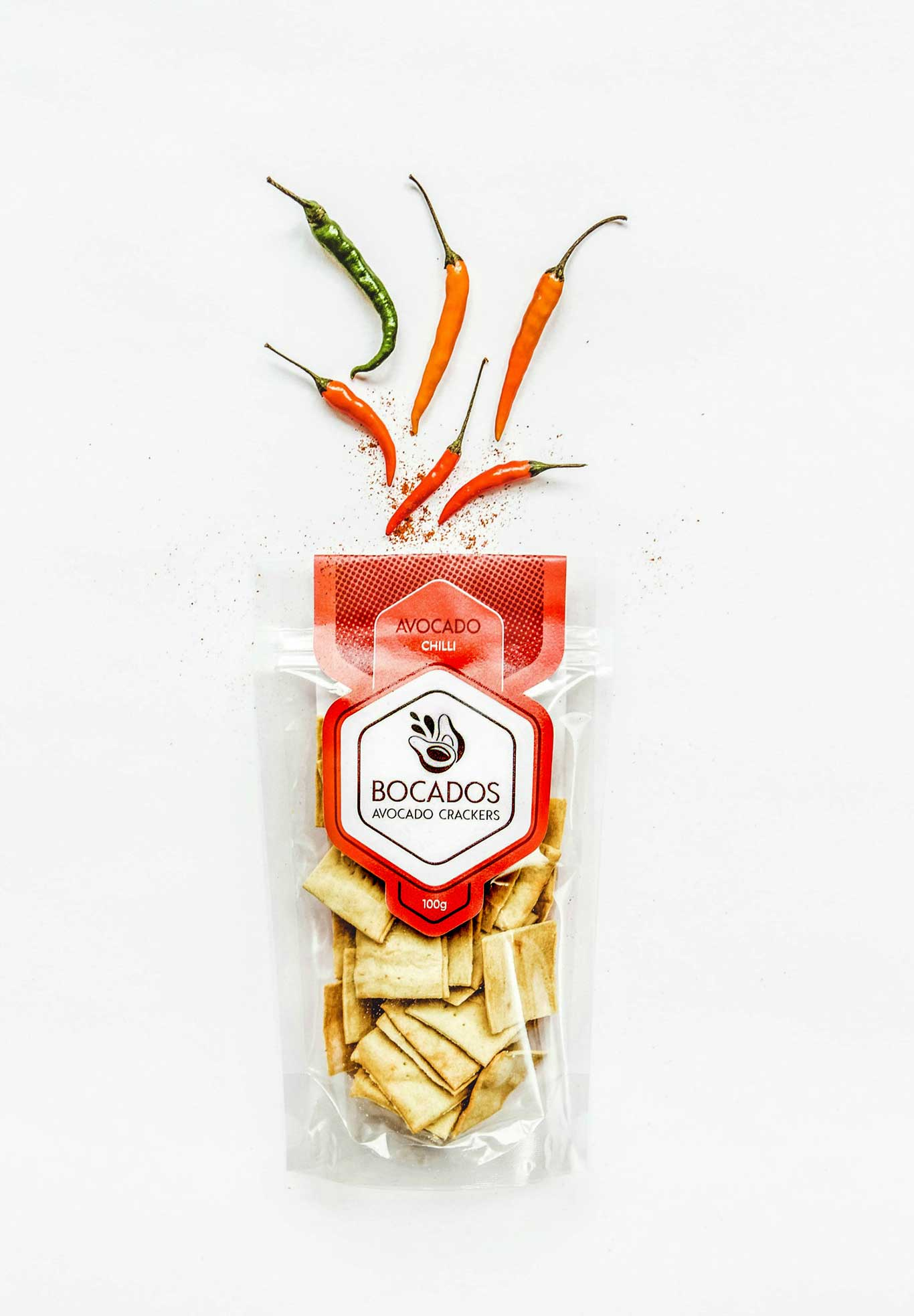 bocados vegan chilli crackers packaging design