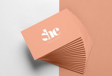 She creations negative space vegan logo business cards branding