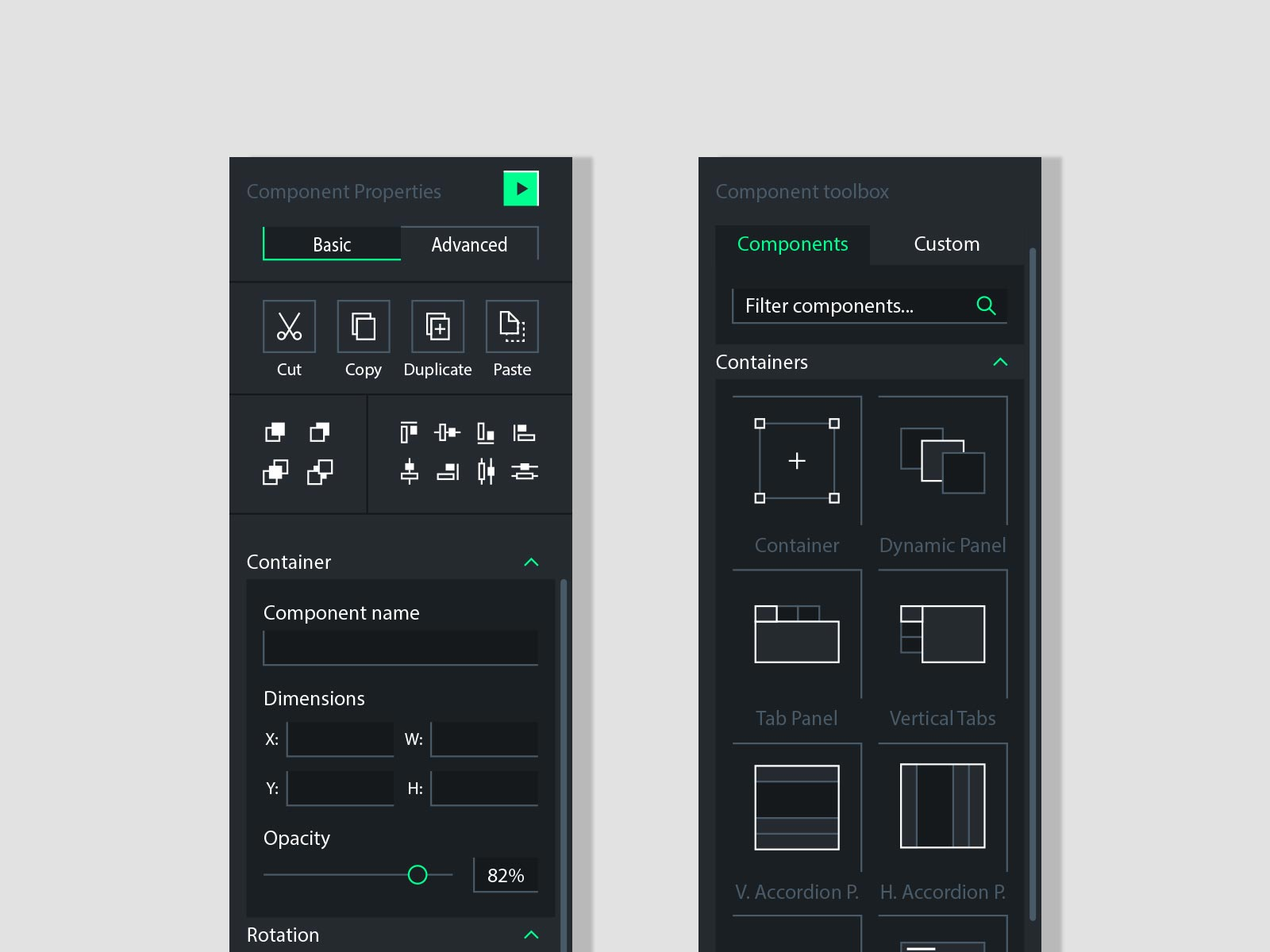 ux app properties settings ui prototype mockup tool design