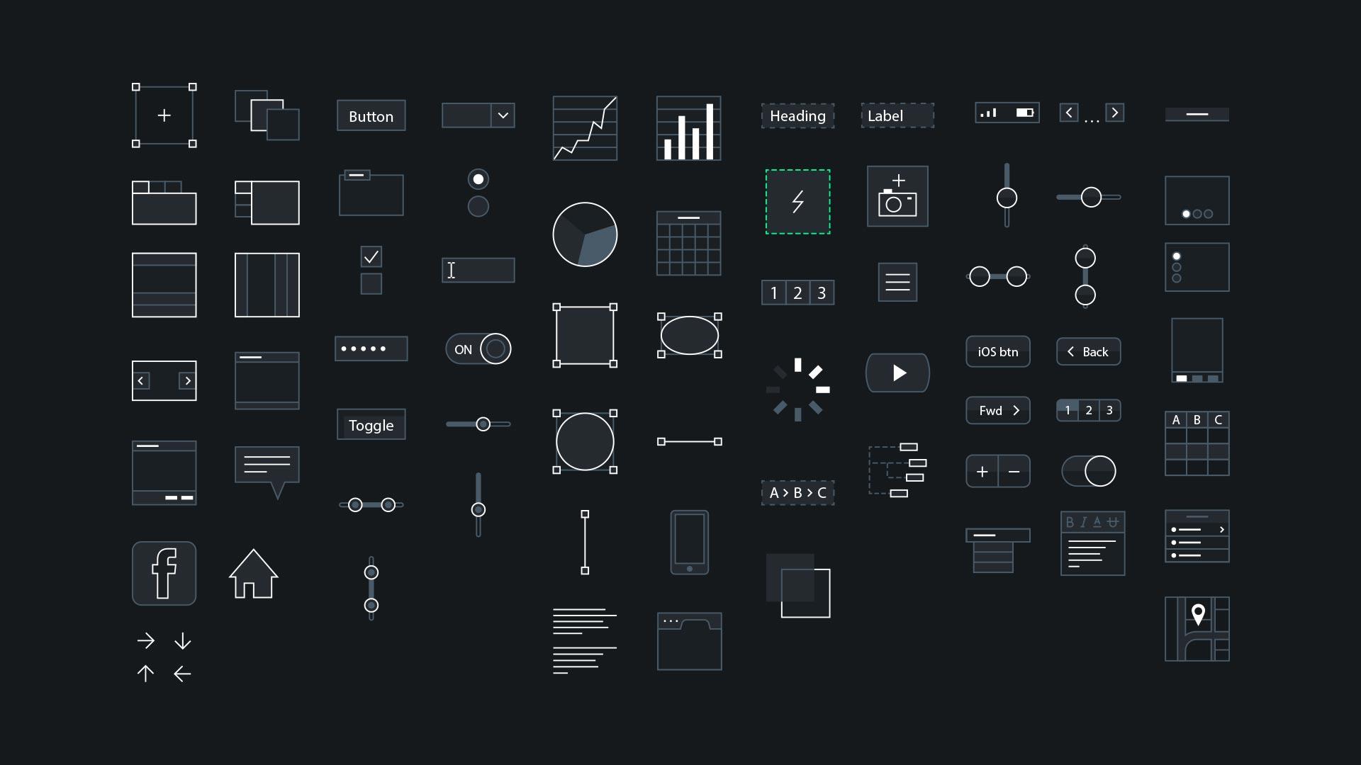 ux app prototype mockup tool ui icons design