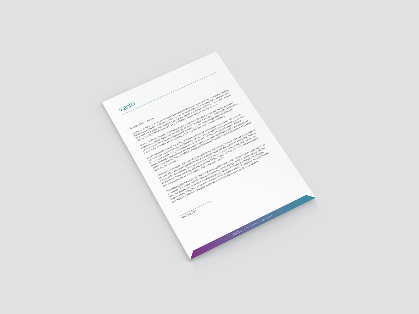 verifa letterhead stationery branding design
