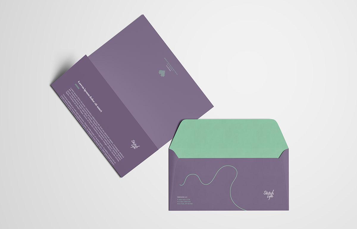 Stitch Life Envelope Letterhead Print Design