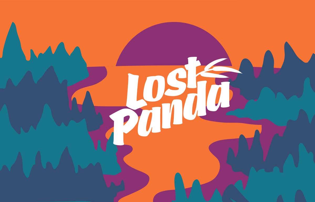 Lost Panda Music text logo illustration